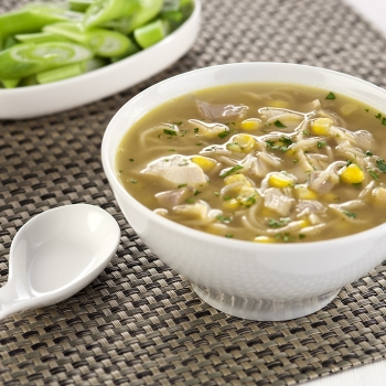 Chicken, noodle and sweetcorn soup